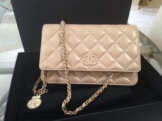 Chanel Pearly Beige Champagne WOC with Coco Chanel Medallion