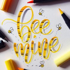 bee mine - lettering mit bienen Plastic Print begun in an effort to make signs. Hand Lettering Fonts, Calligraphy Handwriting, Calligraphy Quotes, Creative Lettering, Lettering Styles, Lettering Tutorial, Calligraphy Letters, Brush Lettering, Caligraphy