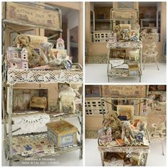 Metal cabinets, Shabby, Antique toys, French dollhouse furniture in 1:12th scale  Metal cabinets built in 1:12th scale, decorated with Shabby