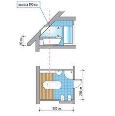 Эргономика. Размещение сантехники в мансардном этаже. #ванная #санузел #дизайн #интерьер #эргономика #мансарда