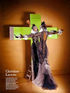 "Linda Evangelista in Christian Lacroix Fall 2003 Haute Couture for ""An Haute Couture Fantasy,"" Harper's Bazaar December 2003"