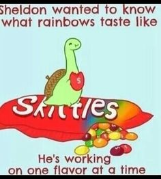Sheldon tasting rainbows one flavor at a time