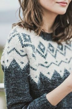 Jumper with combination of Fair Isle and Scandinavian styles