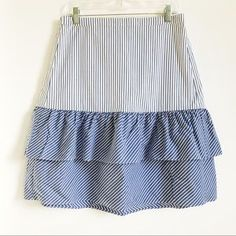 J. Crew Factory Skirts | J Crew Cocktail Stripe Tiered Ruffle Midi Skirt | Poshmark Blossoms, Midi Skirt, Size 12, Cocktails, Blue And White, Stripes, Brand New, This Or That Questions, Skirts