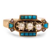 The Picassa Ring ~ This distinctive Art Deco ring displays three round cultured pearls surrounded by ten French cut turquoise cabochons and four grey seed pearls. The unique geometric design illustrates the artistic and free-thinking spirit of the 1920s.