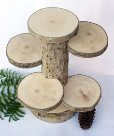 4 Tiered Rustic Cup Cake Stand. Wood Stand. Rustic Cake by exstore, $37.50