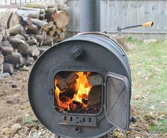 In this instructable I will show you how to make a very simple and inexpensive wood burning stove from a 55 gallon steel drum. This can be used in a garage, pole. Barrel Fire Pit, Burn Barrel, Barrel Stove, Metal Barrel, Fire Pits, Garage Heater, Diy Heater, Pool Heater, 55 Gallon Steel Drum