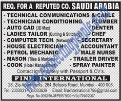 Connecting People: REQ. FOR A REPUTED CO. SAUDI ARABIA.