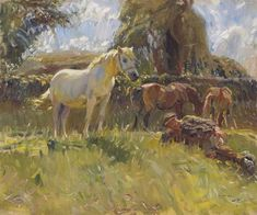 Sir Alfred James Munnings, Shrimp and the Old Grey Mare on the Ringland Hills; oil on canvas, 1910