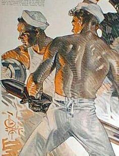 Gleaming muscle by J.C. Leyendecker.