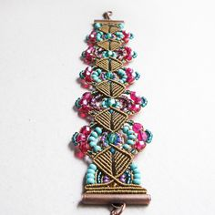 Micro macrame bracelet  Beaded Bronze Turquoise by MartaJewelry, $35.00