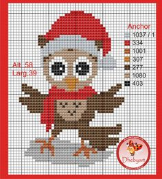 Christmas owl pattern by Dhebyart