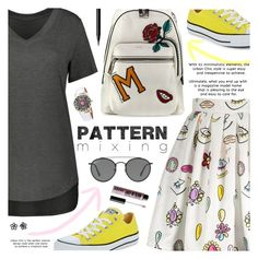 """""""Stay Bold: Pattern Mixing"""" by pokadoll ❤ liked on Polyvore featuring Converse, Marc Jacobs, Ray-Ban, NYX and NARS Cosmetics"""