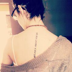 My Roman Numerals Tattoo, spine tattoo , small tattoo , mother and sisters birthday :)