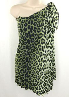 Carol Wior Swimsuit Coverup One Size Green Animal Print Stretch Swimwear Sarong #CarolWior #Sarong