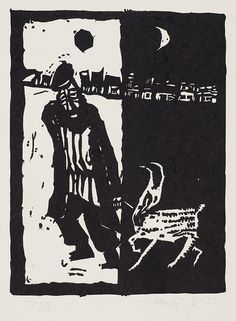 Jerzy Duda Gracz   ŻYD Z KOZĄ, [Z SZOŁEM ALEJCHEMA...],  Z CYKLU JUDAICA, 1965   linoryt, papier   14.7 x 11 cm