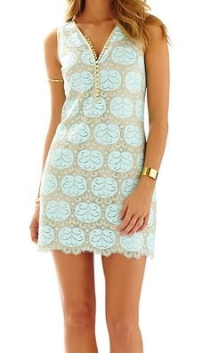 Lilly Pulitzer Nadine V-Neck Lace Dress in Whisper Blue Lilly Pad Lace OBSESSED.