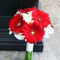 W Flowers product: Wedding Bouquet with Red Gerbera and White Roses