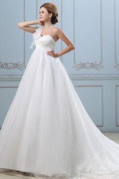 Ivory Organza One-shoulder Sweetheart Wedding Dresses - Order Link: http://www.theweddingdresses.com/ivory-organza-one-shoulder-sweetheart-wedding-dresses-twdn3195.html - Embellishments: Flower; Length: Court Train; Fabric: Organza; Waist: Empire - Price: 188.03USD