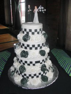 Checker flag NASCAR racing themed wedding cake