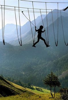 Sky Walking, The Alps, Switzerland :: I'd   would be the one to trip, but it wouldn't hurt to try!