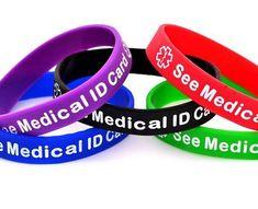 See Medical Id Card Silicone Wristband Bracelet Multi Pack Bracelets Custom Design