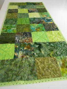 Quilt Table Runner Green Batik Fabrics  Handmade by SEWFUNQUILTS