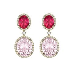 Pink Tourmaline, Morganite and Diamond Earrings in 18ct Yellow Gold - Absolutely beautiful pink tourmaline and morganite earrings surrounded by delicate diamonds in 18ct yellow gold. Kiki has loved designing with pink this year, and these earrings showcase the best hues!  Available exclusively in store.  Call +44 (0) 20 7730 3323 or email info@kiki.co.uk for more information.