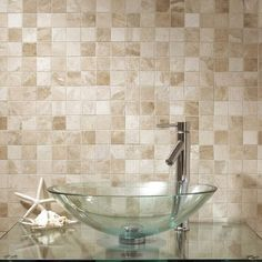 Vanilla Cream Tumbled Marble Mosaic 50x50mm buy now at horncastle tiles for lowest uk prices !