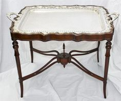 This is an awesome side table!   1910 English Sheffield Silver Plate Butlers Fitted Tray Table Stand