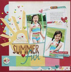 Summer Fun by Greta Hammond - Scrapbook.com - Cut and stitch a large sun as a cute embellishment for a summer fun or sprinkler layout.
