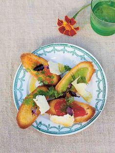 Rainbow tomato crostini | Jamie Oliver recipes Antipasto, Tomato Bread, Bread Starter, Red Tomato, Food Words, New Cookbooks, Easy Food To Make, Jamie Oliver, Tray Bakes