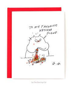 Ketchup Fiend  Funny Cat Card by jamieshelman on Etsy