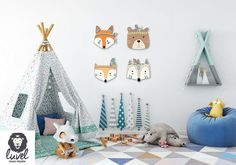Colorful Indian Animals – wall decoration for the nursery – Pin Coffee - Kinderzimmer Baby Bedroom, Baby Boy Rooms, Nursery Room, Girl Nursery, Girl Room, Kids Bedroom, Bedroom Decor, Room Baby, Baby Decor