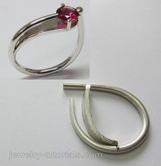Tutorial on making a modern asymmetrical ring design with an interesting way to set the gemstone. cocktail ring / jewelry tutorial / how to make rings / silver / gemstone setting / metalsmithing / jewelry fabrication
