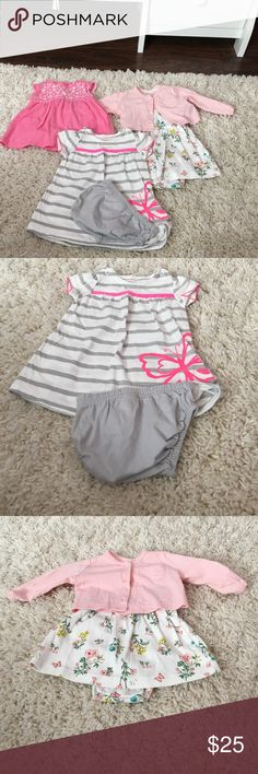 Carters bundle! I don't think any of these were ever worn. Excellent new condition! All are 3 months. The bright pink is a short sleeved onesie dress, the stripped is a dress with diaper cover and the flowered is a onesie dress with a pink long sleeves cardigan Carter's One Pieces