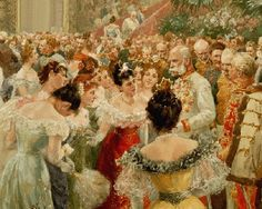 THE BALL (detail): Franz Joseph I, The Emperor of Austria and King of Hungary. By Wilhelm Gause (1853 - 1916) was a German-Austrian painter