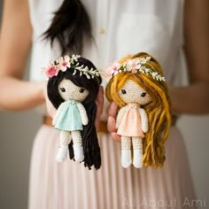 Crochet these beautiful and whimsical dolls with flower crowns, fabric dresses, and beautiful bead details!