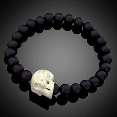 LAZARO SoHo Jewelry Black Onyx Bead & Bone Skull Bracelet