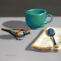 """Daily+Paintworks+-+""""Toy+Bird+with+Teal+Cup""""+-+Original+Fine+Art+for+Sale+-+©+Nance+Danforth"""