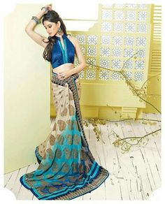 Beige and blue #saree. A subtle choice for college farewells. #IndianWear #Fashion #Style