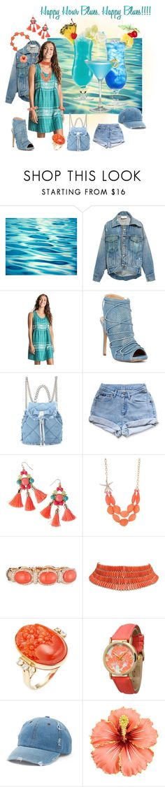 """happy blues at happy hour"" by caroline-buster-brown ❤ liked on Polyvore featuring Monse, TIKI, Roxy, Liliana, Salvatore Ferragamo, Levi's, Lilly Pulitzer, Kim Rogers, Verdi and Olivia Pratt"