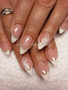 Wedding Nails-A Guide To The Perfect Manicure – NaiLovely Fancy Nails, Pink Nails, Cute Nails, Pretty Nails, My Nails, Elegant Nail Designs, French Nail Designs, Beautiful Nail Designs, Nail Art Designs
