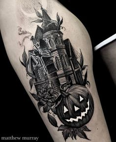 Haunted House by Matt Murray at in Salem Massachusetts. Tattoo Henna, Dark Tattoo, Piercings, Piercing Tattoo, Body Art Tattoos, Cool Tattoos, Tatoos, Haunted House Tattoo, Spooky Tattoos