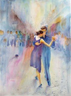 Tango callejero, watercolor by Minnie Valero