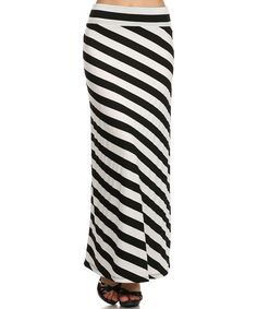 J-Mode USA Los Angeles Black & Ivory Stripe Maxi Skirt   zulily