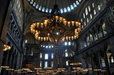 Chandeliers under the great dome of the Hagia Sophia in Istanbul