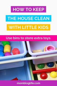 Keeping bins to store extra toys in other rooms is a great way to keep things neat and tidy. #cleaningtips #moms Displaying Kids Artwork, Artwork Display, Organizing Tips, Organization Hacks, House Cleaning Tips, Cleaning Hacks, Painting Tile Floors, Clean House Schedule, Single Mum