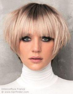 Short blonde bob haircut with bangs