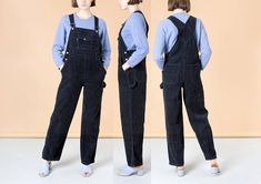 BLACK CORDUROY OVERALLS women woman vintage loose oversize 90S classic / Medium Large